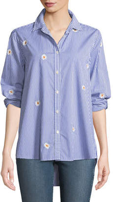 The Great The Oversized Button-Front Daisy-Embroidered Striped Oxford Shirt