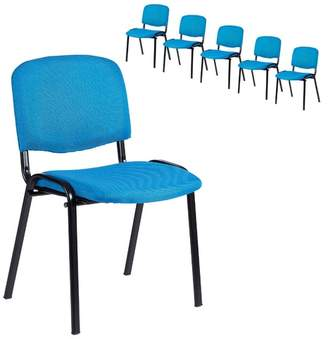 Set of 6 Blue Stackable Office Visitor Conference Chairs