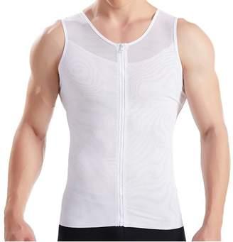 JOVIVI Mens Slimming Body Shaper with Zipper Compression Shirt Slim Shapewear