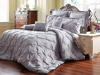 Unique Home 8 Piece Reversible Pinch Pleat Comforter Set Fade Resistant