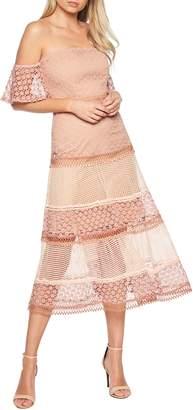 Bardot Kristen Off the Shoulder Lace Midi Dress
