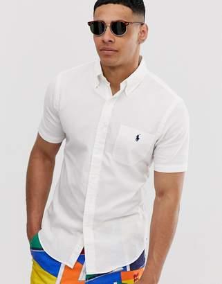 7668d3392 Polo Ralph Lauren player logo pocket short sleeve seersucker shirt slim fit  in white