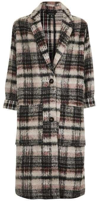 TopshopTopshop Dark check wool mix duster coat