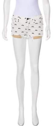 Rag & Bone Printed Denim Mini Shorts