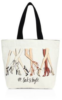 Saks Fifth Avenue Collection SaksStyle Leg-Print Canvas Tote $35 thestylecure.com
