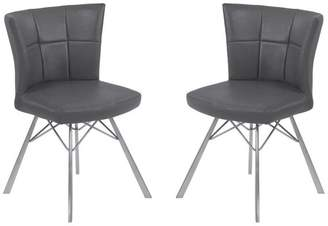 Armen Living Spago Brushed Stainless Steel Contemporary Dining Chairs, Set of 2