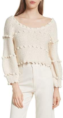 Apiece Apart Hyacinth Pompom Stripe Sweater
