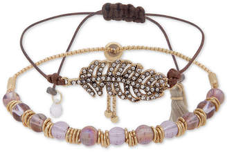 lonna & lilly Gold-Tone Crystal Feather Bead and Cord Bolo Bracelet