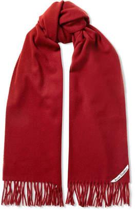 Acne Studios Canada Narrow Fringed Wool Scarf - Red