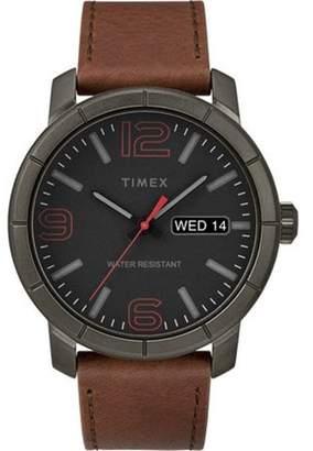 Timex Men's Mod 44 Brown/Black Watch, Leather Strap