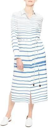 Theory Graduated Stripe Belted Long Sleeve Silk Shirtdress