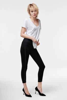 J Brand Alana High-Rise Cropped Super Skinny In Black Ladder Lace