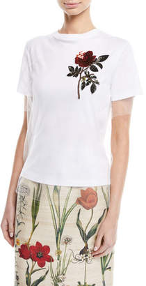 Oscar de la Renta Crewneck Short-Sleeve Tulle Overlay Cotton Tee w/ Sequin Rose