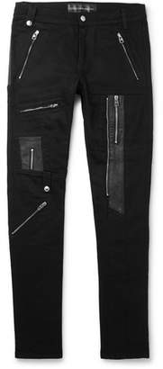 Alexander McQueen Skinny-fit Leather-panelled Stretch-denim Biker Jeans