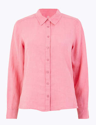 d504fbec M&S CollectionMarks and Spencer PETITE Pure Linen Button Detailed Shirt