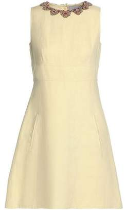Valentino Bead And Crystal-Embellished Linen Mini Dress