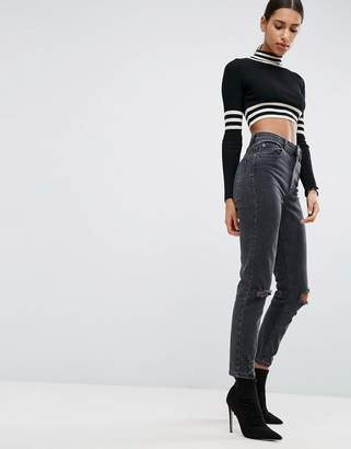 ASOS Farleigh High Waist Slim Mom Jeans In Washed Black with Busted Knees $53 thestylecure.com