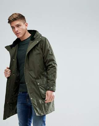 Asos DESIGN Heavyweight Parka With Embroidery In Khaki