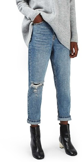 TopshopPetite Women's Topshop Ripped Mom Jeans