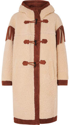 Philosophy di Lorenzo Serafini Fringed Suede-trimmed Shearling Coat - Cream