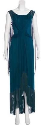 Alberta Ferretti Silk Fringe Dress