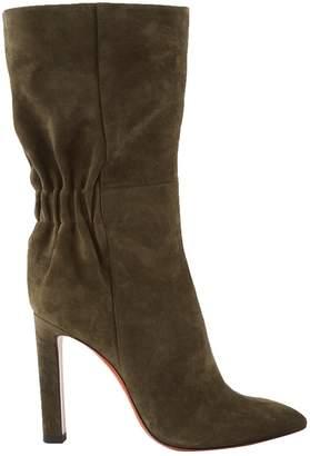 Santoni Green Suede Boots