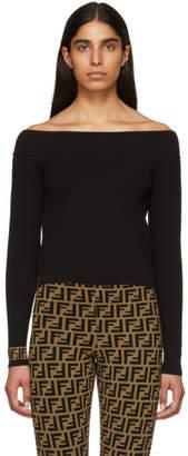 Fendi Black Forever Off-The-Shoulder Sweater