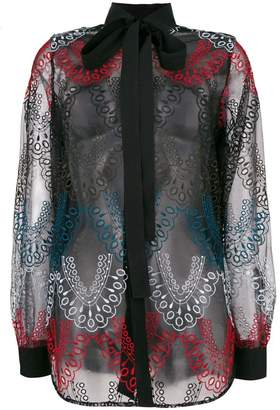 Elie Saab embroidered tulle shirt