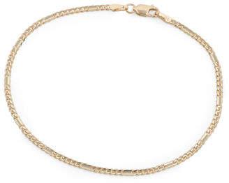 14k Gold Alternate Curb Concave Chain Bracelet
