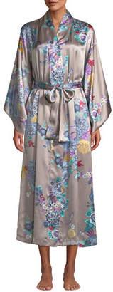 Natori Angkor Long Floral-Print Silk Robe