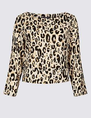 Marks and Spencer Animal Print Round Neck Long Sleeve Top