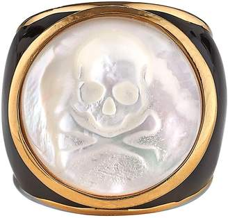 Asha Mother-of-Pearl Skull Ring