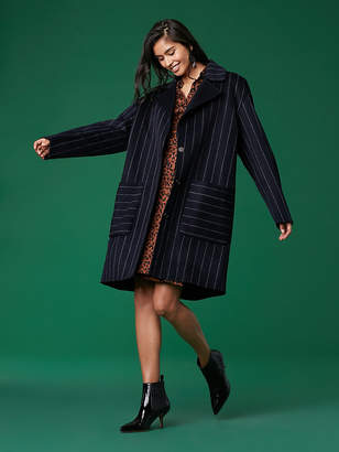 Diane von Furstenberg Collared Striped Coat