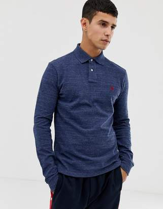 Polo Ralph Lauren slim fit long sleeve pique polo in navy marl