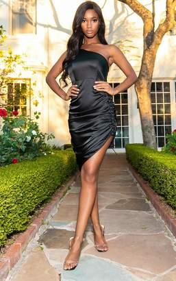 PrettyLittleThing Black Satin Lace Up Side One Shoulder Midi Dress