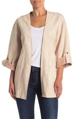 A.Calin Suede Long Sleeve Cardigan