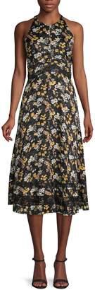 Derek Lam 10 Crosby Floral & Lace A-Line Midi Dress