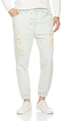 Nothing but Denim Men's Jogger Jeans Drawstring Ripped Denim Pants (AM1030