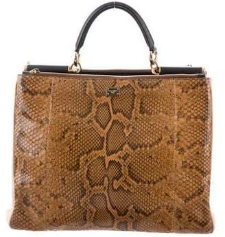 Dolce & Gabbana Snakeskin Leather-Trimmed Satchel