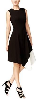 Calvin Klein Women's Sleeveless Round Neck Color Block a-Line Dress with Asymmetrical Hem