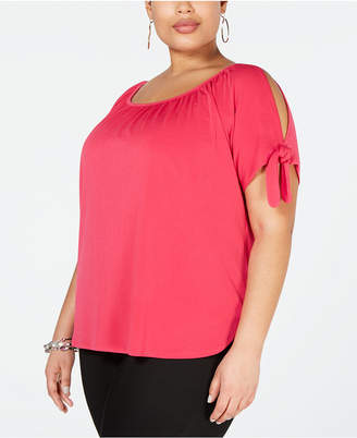 55ac7e8107f INC International Concepts I.N.C. Plus Size Cold-Shoulder Bows Top, Created  for Macy's