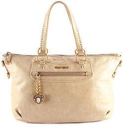Miu MiuMiu Miu Beige Leather Gold Tone Two Way Tote Handbag BP4580 MHL