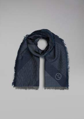 Giorgio Armani Silk And Wool Scarf With Jacquard Pattern