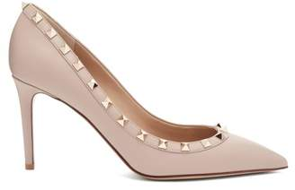 Valentino - Rockstud Point Toe Leather Pumps - Womens - Nude