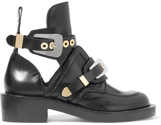 Balenciaga - Cutout Glossed-leather Ankle Boots - Black $1,275 thestylecure.com