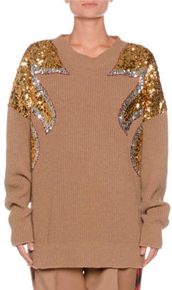 No.21 No. 21 Crewneck Sequin-Detail Ribbed Wool Sweater