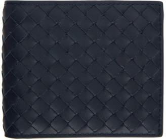 Bottega Veneta Navy Classic Intrecciato Bifold Wallet