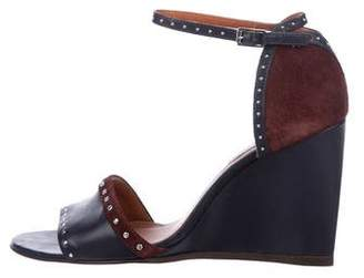 Lanvin Leather Studded Wedges