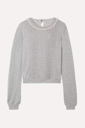 Miu Miu Embellished Lace-trimmed Cashmere And Silk-blend Sweater - Gray