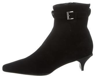 pradaPrada Suede Round-Toe Ankle Boots